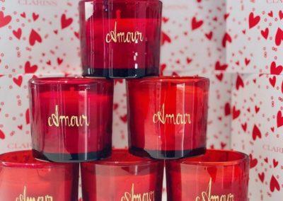 atelier gravure sur verre Clarins Bougies Galeries lafayettes