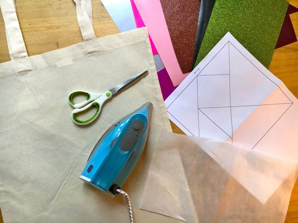 Matériel pour totebag sac coton tangram