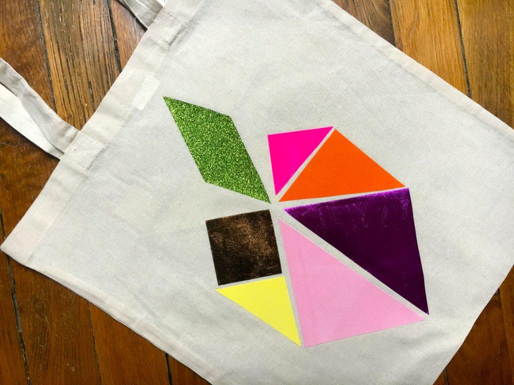 DIY tutoriel tote bag tangram sac coton