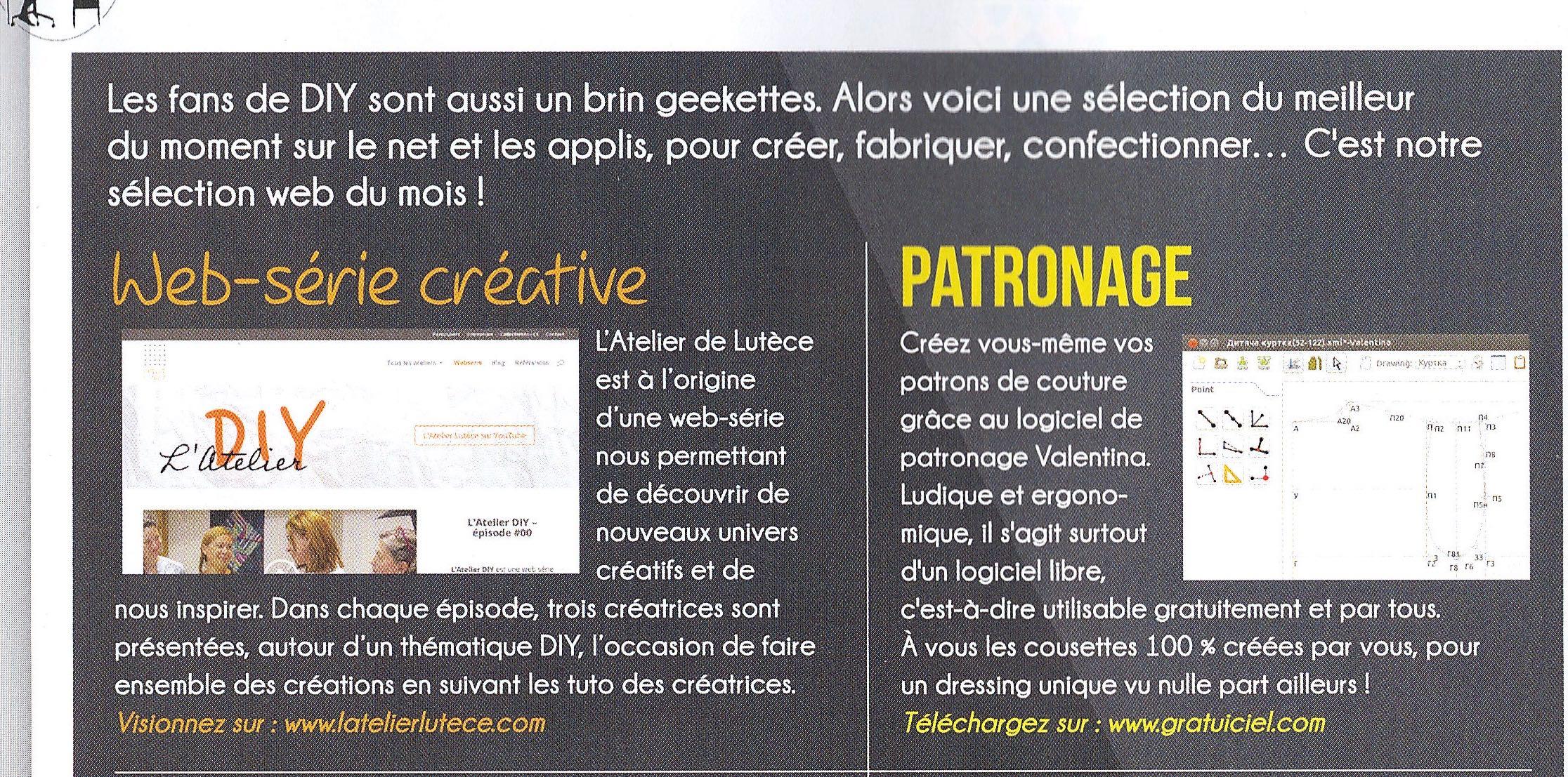 L'Atelier Lutèce dans Idées à faire magazine
