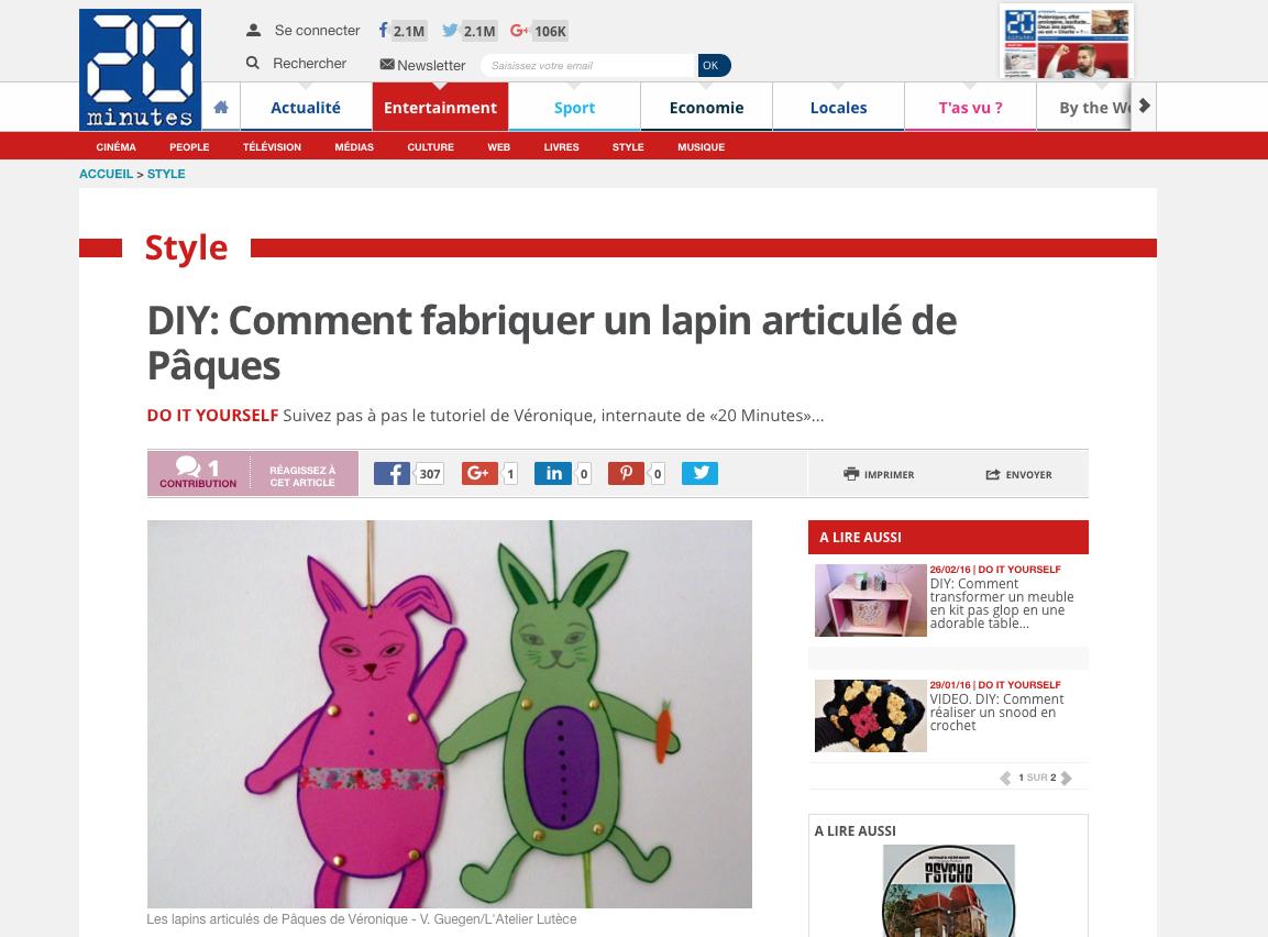 L'Atelier Lutèce - Tuto sur 20minutes.fr