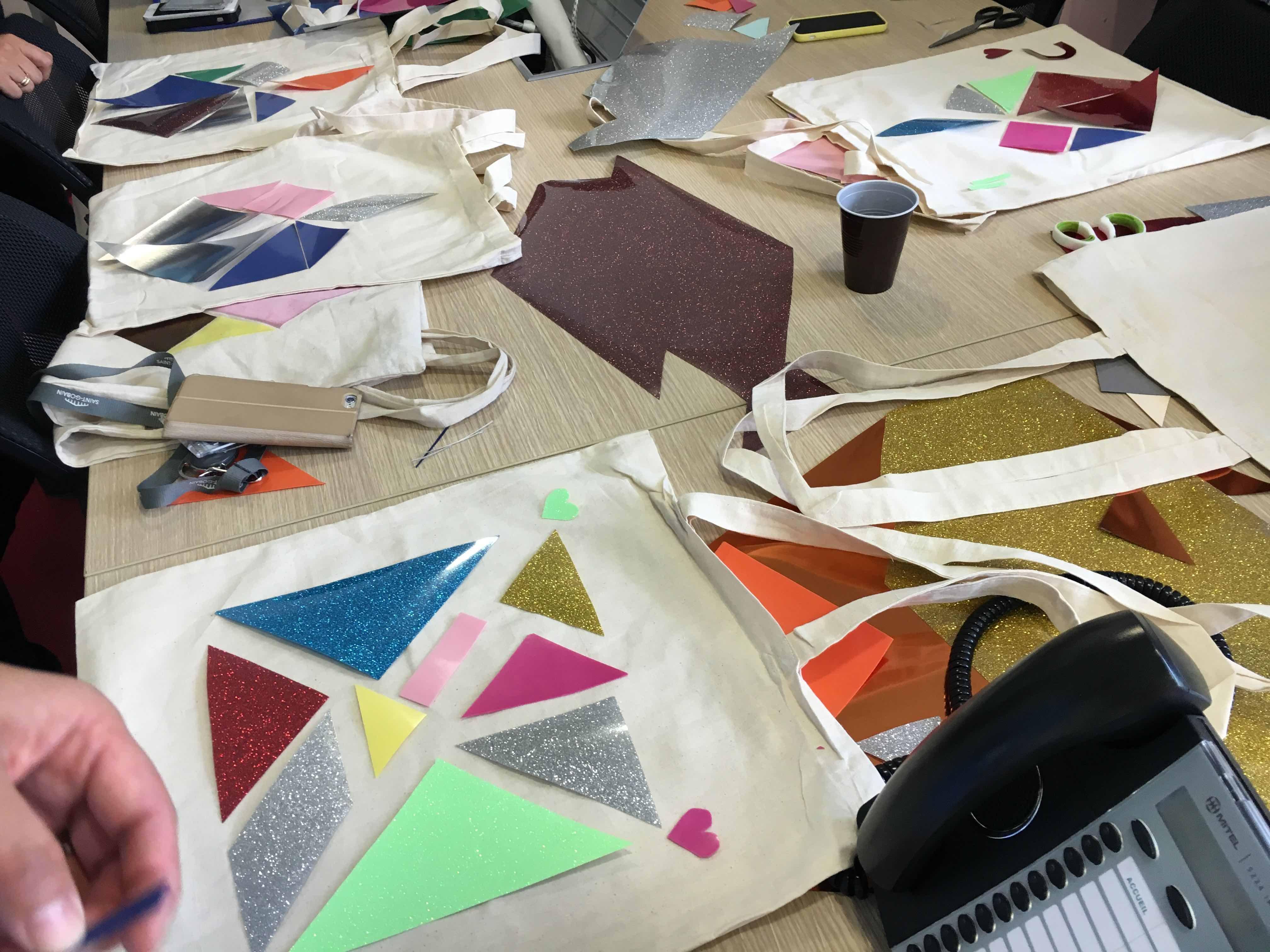 atelier diy creatif customisation sac coton tote bag tangram