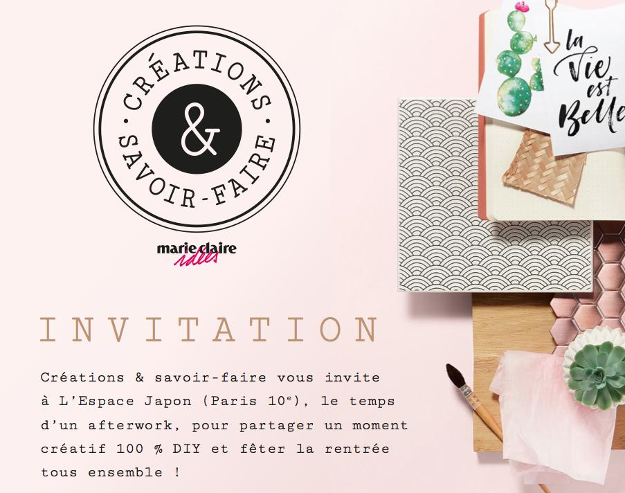 invitation afterwork creations et savoir faire