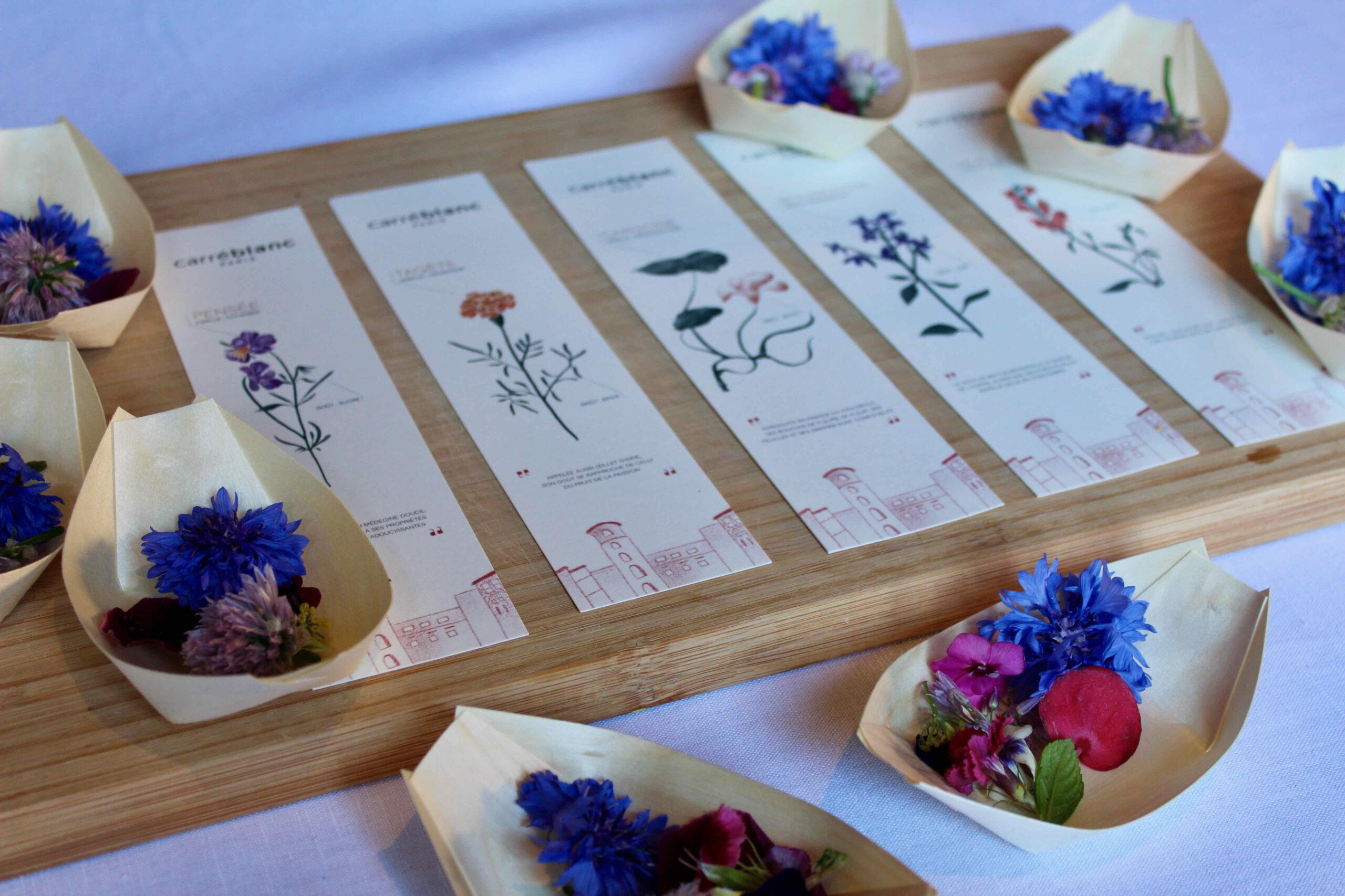 BAr à fleurs de saison comestibles dégustation