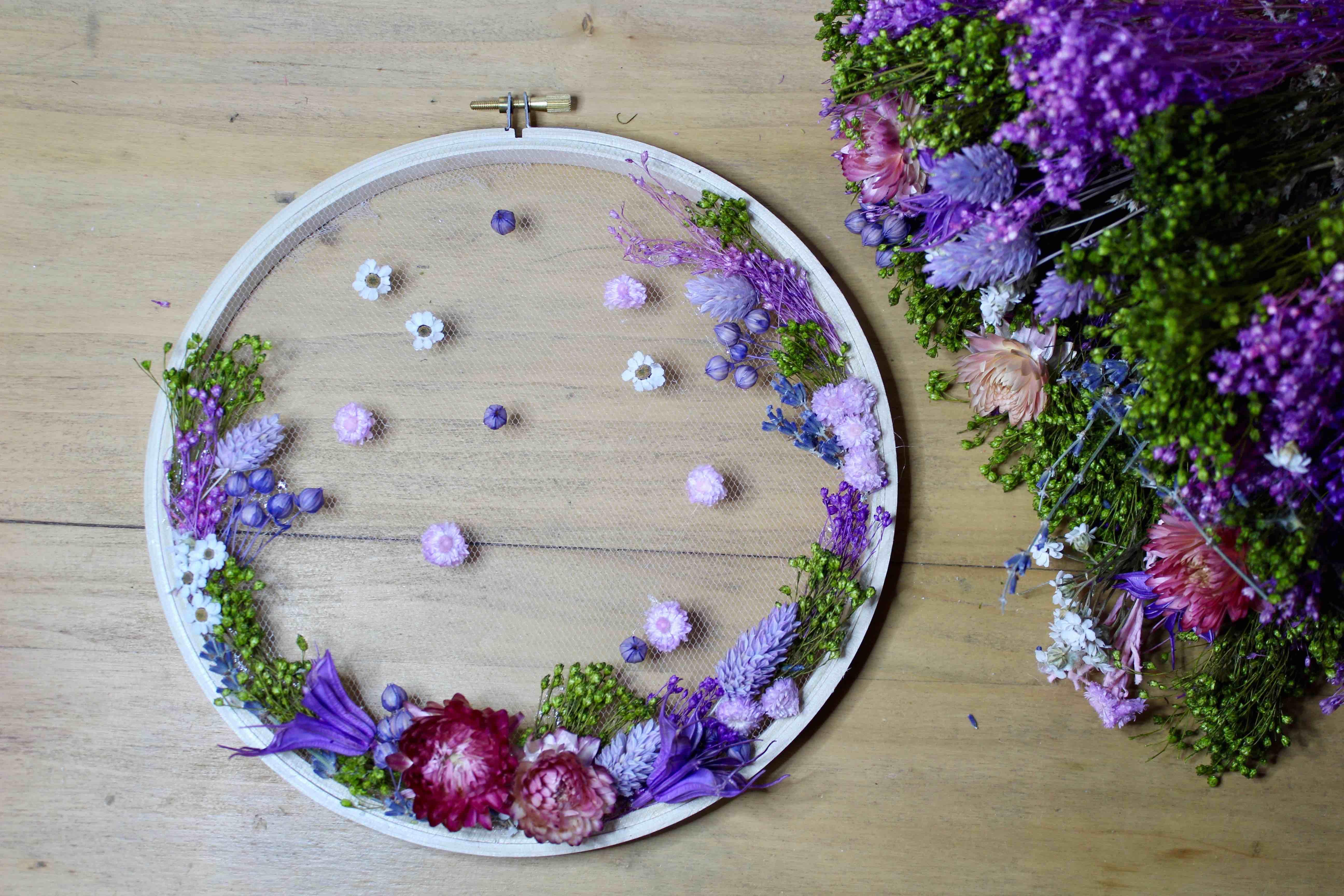 atelier DIY id creative Lyon Tambour de fleurs sechees