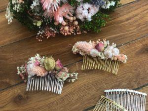 peignes de fleurs sechees atelier DIY LYON