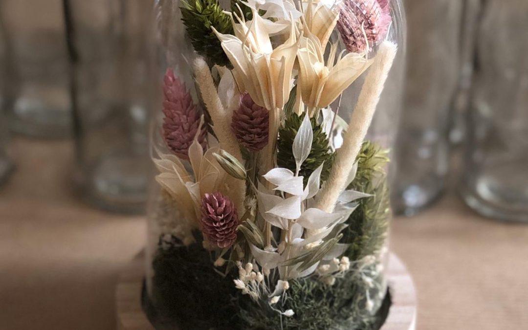 sur mesure Cloche de fleurs séchées