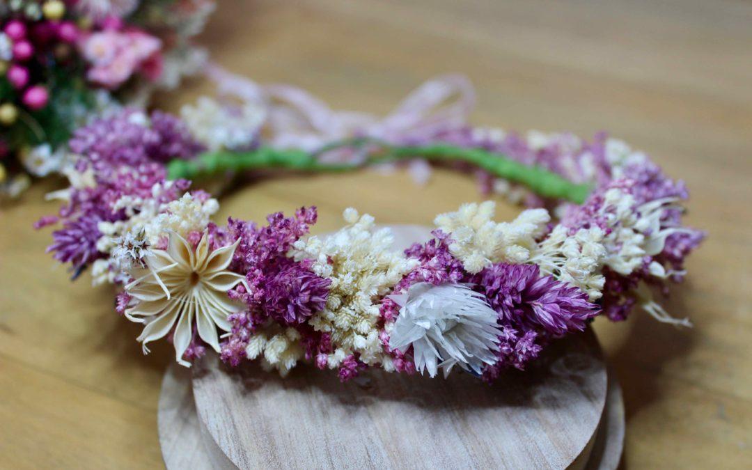 tutoriel couronne de fleurs sechees DIY