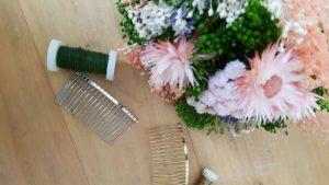 fournitures tutoriel DIY peigne de fleurs séchées