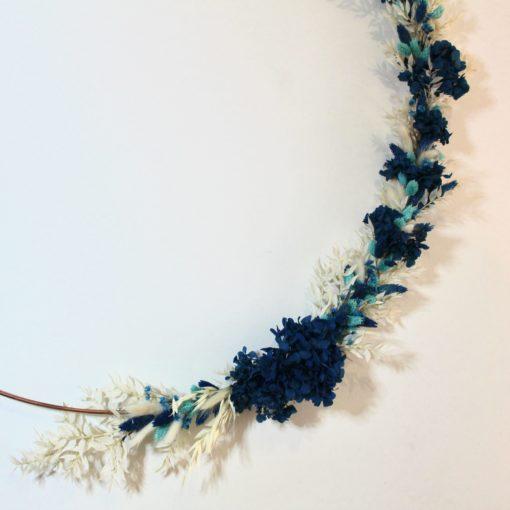 Cerceau fleurs sechées cercles 80 cm bleu