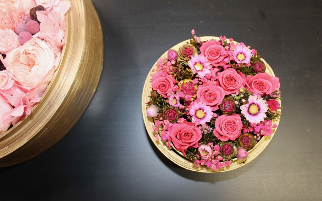 Composition fleurs séchées stabilisées