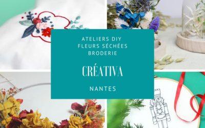 Ateliers créatifs DIY Créativa Nantes Fleurs séchées et broderie