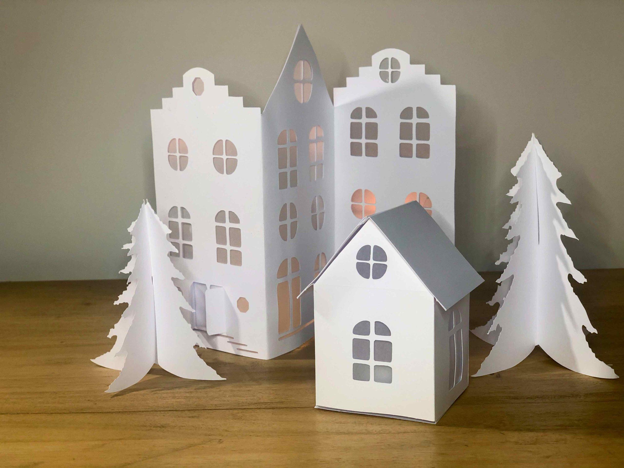 Boite maison village de noël papier
